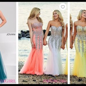 Jovani coral and silver mermaid prom dress :)